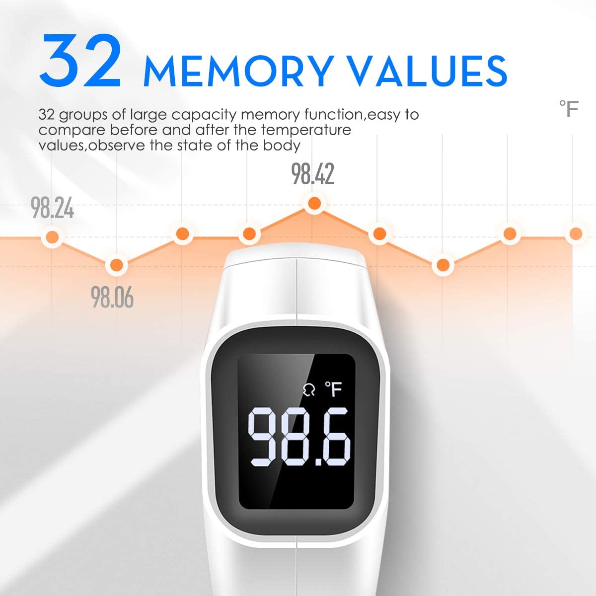 Digital Infrared Thermometer with Fever Alarm and Memory Function for Adults Baby and Kids YOUNGFUN Forehead and Ear White