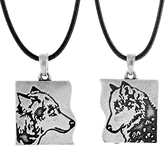 Couples Animals Silver Plated Wolf Pendant Best Friend Jewelry Necklace
