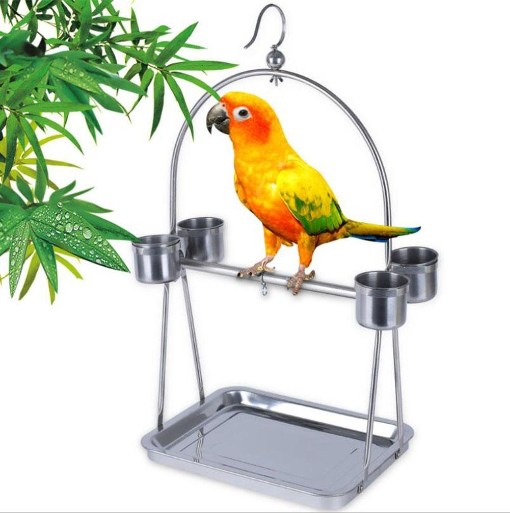 Parred Bird Stainless Steel Stand Bird Cage Stand Rod Accessories Drinking Cup
