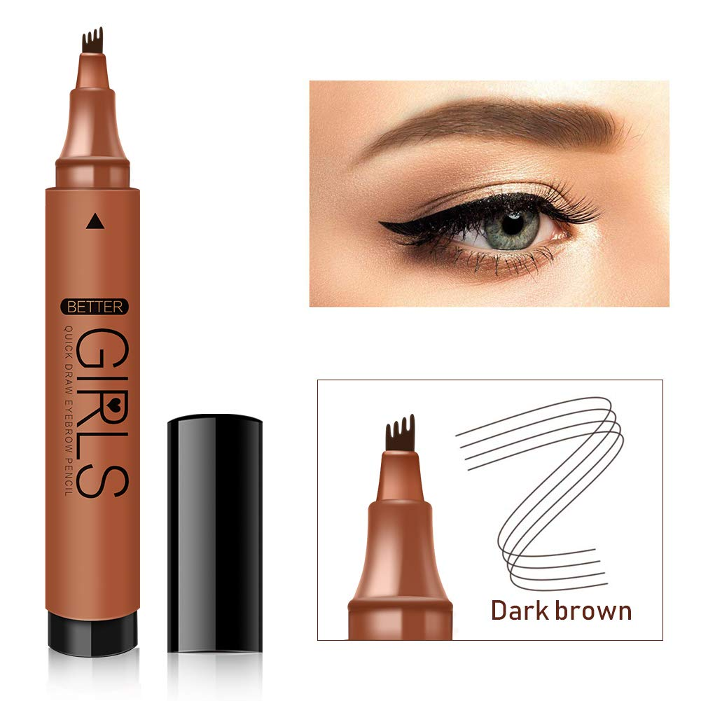 Eyebrow Tattoo Pen Microblading Eyebrow Pencil Tattoo Eyebrow with Four Tips MicroFork Tip Long