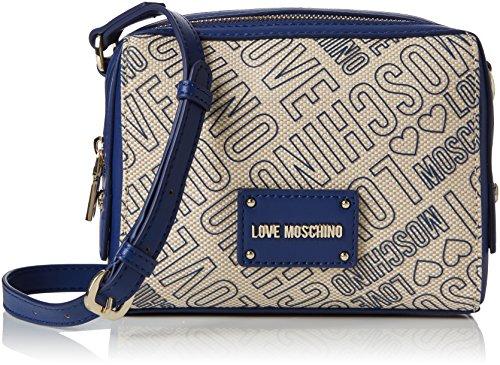 Love Moschino Borsa Canvas Naturale+nappa Pu Blu, Women