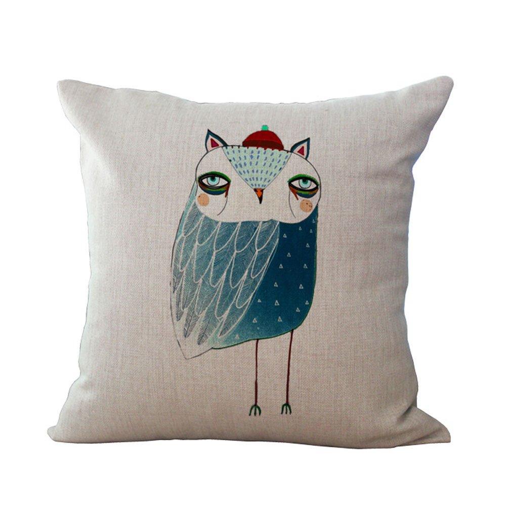 Hengjiang Animal Cotton Linen Cushion Cover 18X18 Pillowcase Throw Pillow Case Sofa Decoration Cute Cartoon Owl(#01)
