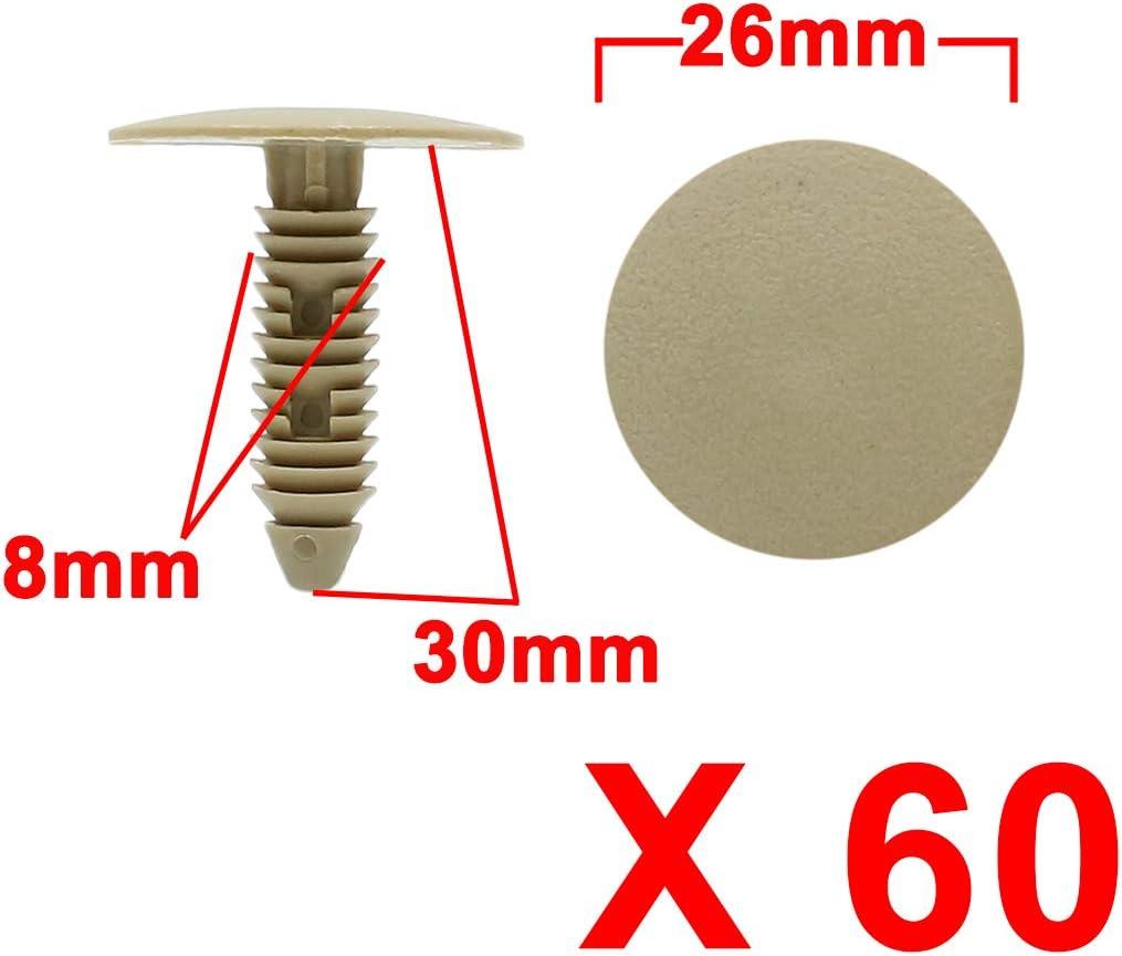 X AUTOHAUX 60pcs Brown Car Plastic Rivet Fasteners Auto Bumper Fender Clips