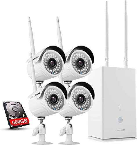 ANNKE WiFi Wireless Security Cameras System 4CH 960P NVR with 500GB Surveillance Hard Drive, Weatherproof CCTV Camera with Night Vision, Installation No Video Cable Needed