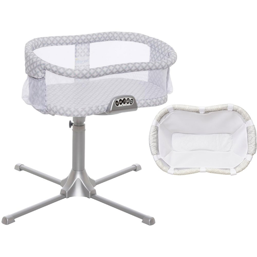 Halo - Swivel Sleeper Bassinet Premiere Series Harmony Circles with Newborn Cuddle Insert - White Mesh
