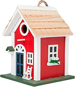 MEWANG Hanging Colourful Birdhouse Garden Country Cottages Bird House Condo Wooden Red Height 9.7""