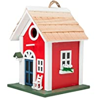 MEWANG Hanging Colourful Birdhouse Garden Country Cottages Bird House Condo Wooden Red Height 9.7