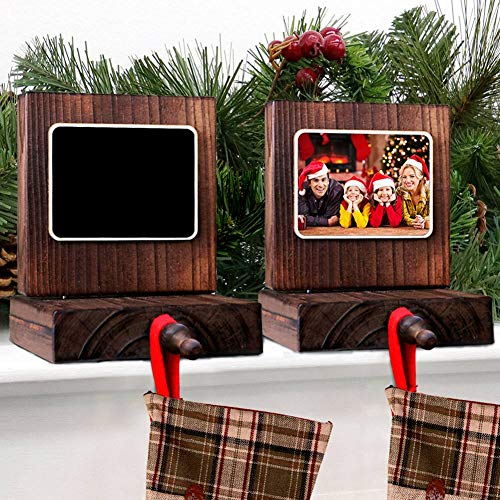 OurWarm PartyTalk 2pcs Wooden Christmas Stocking Holder for Mantle or Fireplace, DIY Rustic Chalkboard Stocking Hanger for Christmas Holiday Home Decor