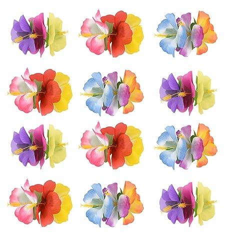 New Multicoloured Hibiscus Flower Hair Clip Fancy Dress Bridal Hawaiian Luau