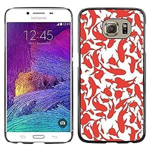 Paccase / SLIM PC / Aliminium Casa Carcasa Funda Case Cover para - Whales Sharks Red White Art Painting - Samsung Galaxy S6 SM-G920
