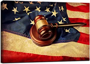 Nachic Wall - Vintage Wall Art for Office Judge Gavel Legal Hammer over US Flag Poster Pictures for Classroom Study Room Lawyer Office Decor Gift for Law Student Gallery Canvas Wrapped Easy Hanging