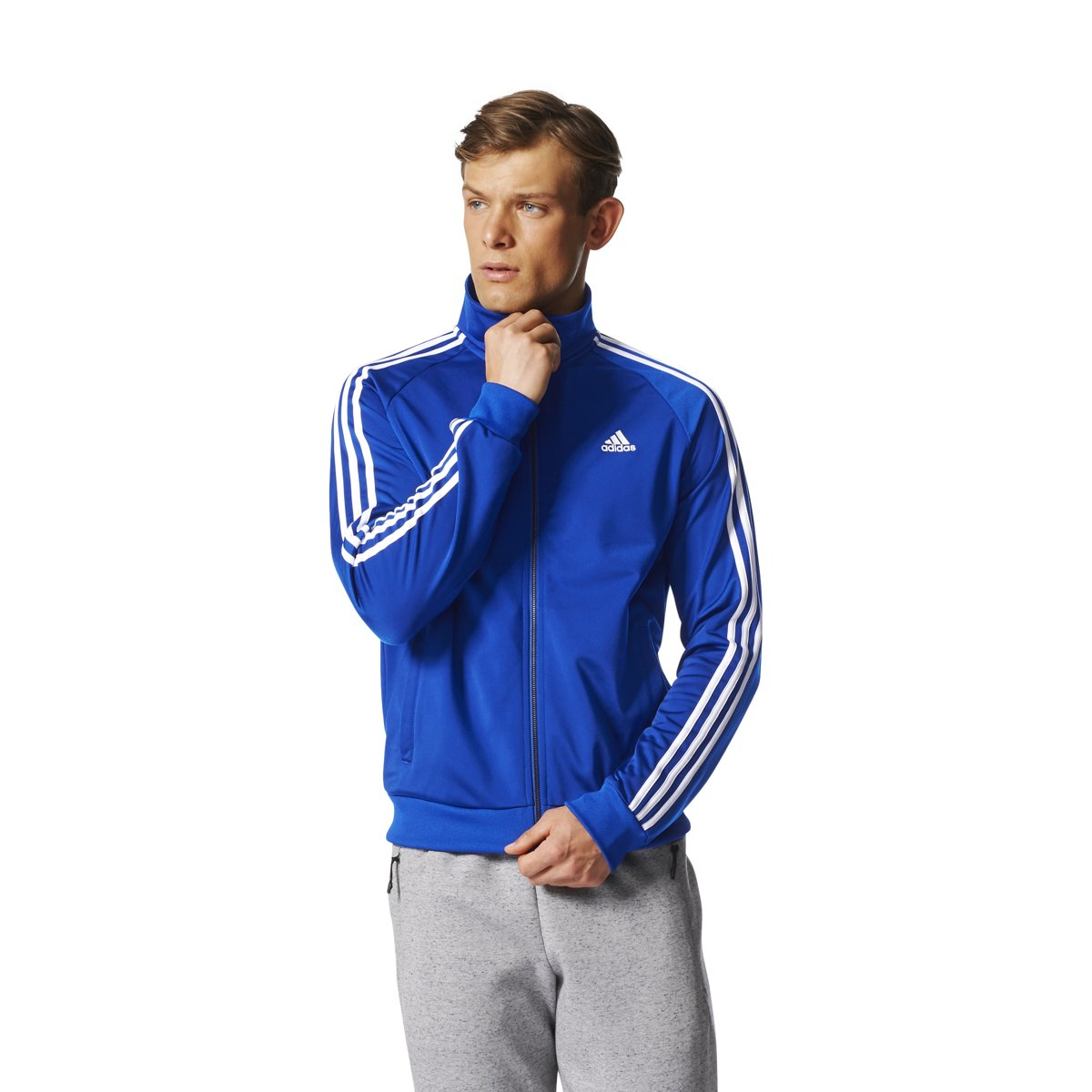 adidas Essentials 3S Tricot Track Jacket Men's All Sports S Collegiate Royal-White by adidas (Image #3)