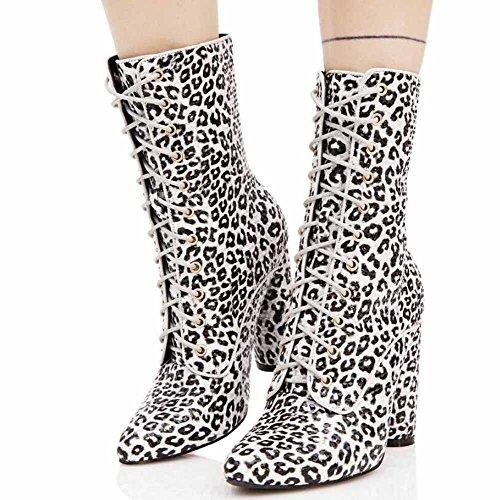 GLTER Mujeres Casual Martin Boots 2017 Otoño Invierno Nuevo de tacón alto Cross-cinturón de lentejuelas botas Botas de moda White