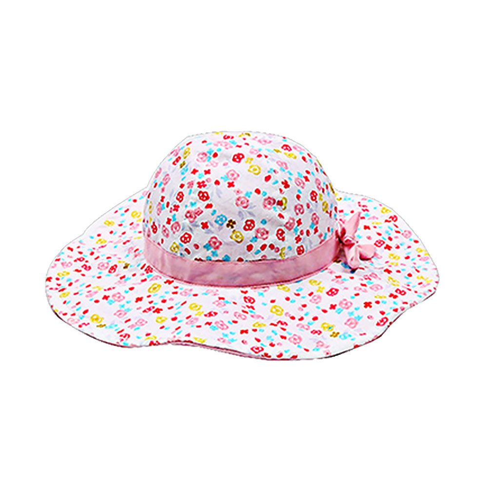 ACTLATI Floral Print Bowknot Bucket Sun Hat Wide Brim Breathable Beach Cap for 3 Month-6 Years Baby Kids