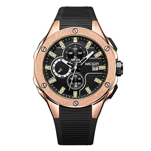 Megir Relojes Hombre Deportivos Militar al Aire Libre Color de Oro de Correa de Silicona Negro Casual Impermeable cronógrafo Calendario Cuarzo Relojes: ...