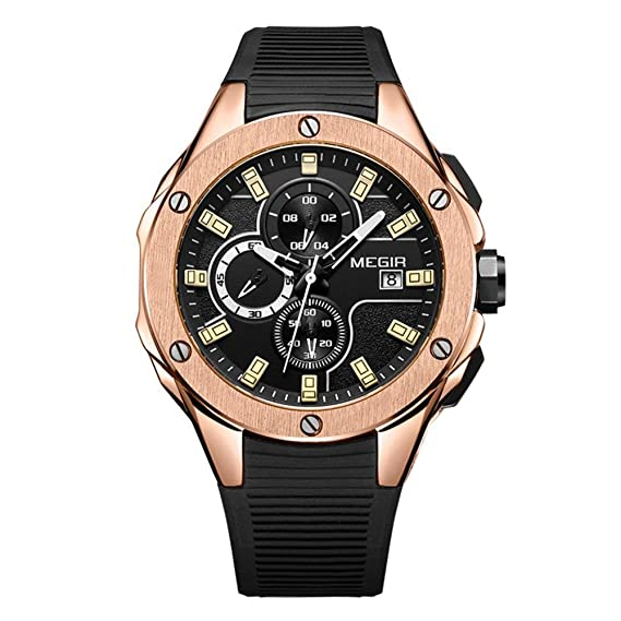 08dbce6a4894 Megir Relojes Hombre Deportivos Militar al Aire Libre Color de Oro de  Correa de Silicona Negro Casual Impermeable cronógrafo Calendario Cuarzo  Relojes  ...