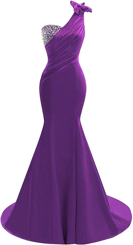 Lily Wedding supreme Womens One Shoulder Satin Dress Mermaid Prom E Super sale 2020