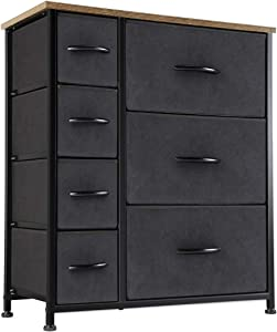 Kamiler 7 Drawers Dresser-Furniture Storage Unit,Bedroom Chest Organization-Closet for Clothes,Wood Top,Easy Pull Fabric Bins,Anti-Tip Kit (Black)
