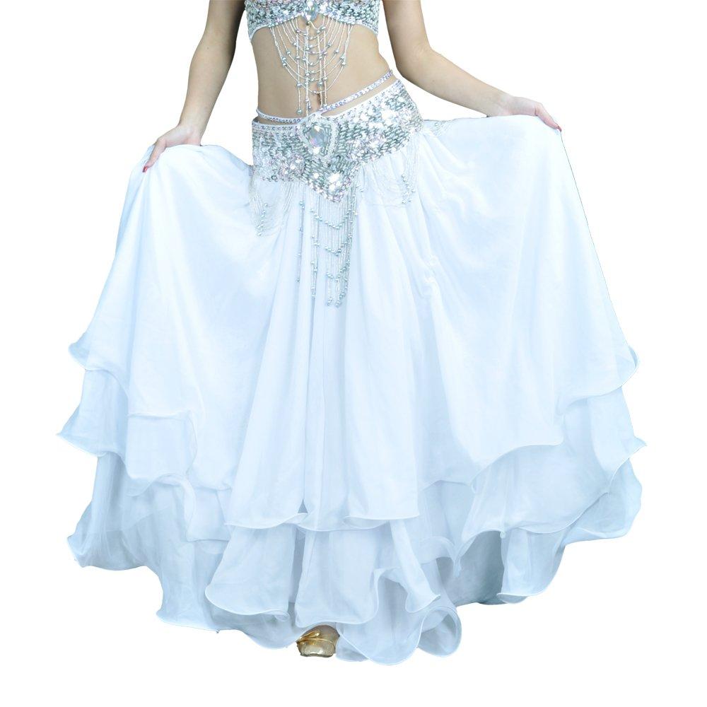BellyLady Belly Dance Skirt Halloween Tribal Chiffon Tiered Maxi Full Skirt