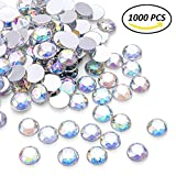 cloth gems - 1000Pcs Crystal AB Rhinestones, Clear Round Rhinestones for DIY Crafts, Phone, Nail Art, Jewelry Making, Clothes, Bag, Shoes, Wedding Decoration (10mm)