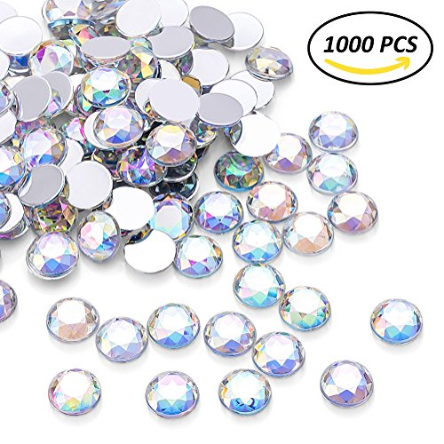 Crystal Ab Stones - 1000Pcs Crystal AB Rhinestones, Clear Round Rhinestones for DIY Crafts, Phone, Nail Art, Jewelry Making, Clothes, Bag, Shoes, Wedding Decoration (10mm)
