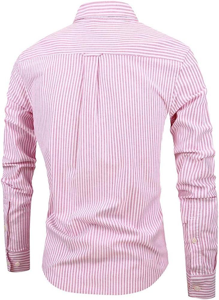 Camisas clásicas de Hombre NnuoeN Camisa de Rayas de Manga Larga para Hombre Camisa de algodón con Ajuste Regular para Bodas Business Leisure, Tallas Rojo XXL: Amazon.es: Ropa y accesorios