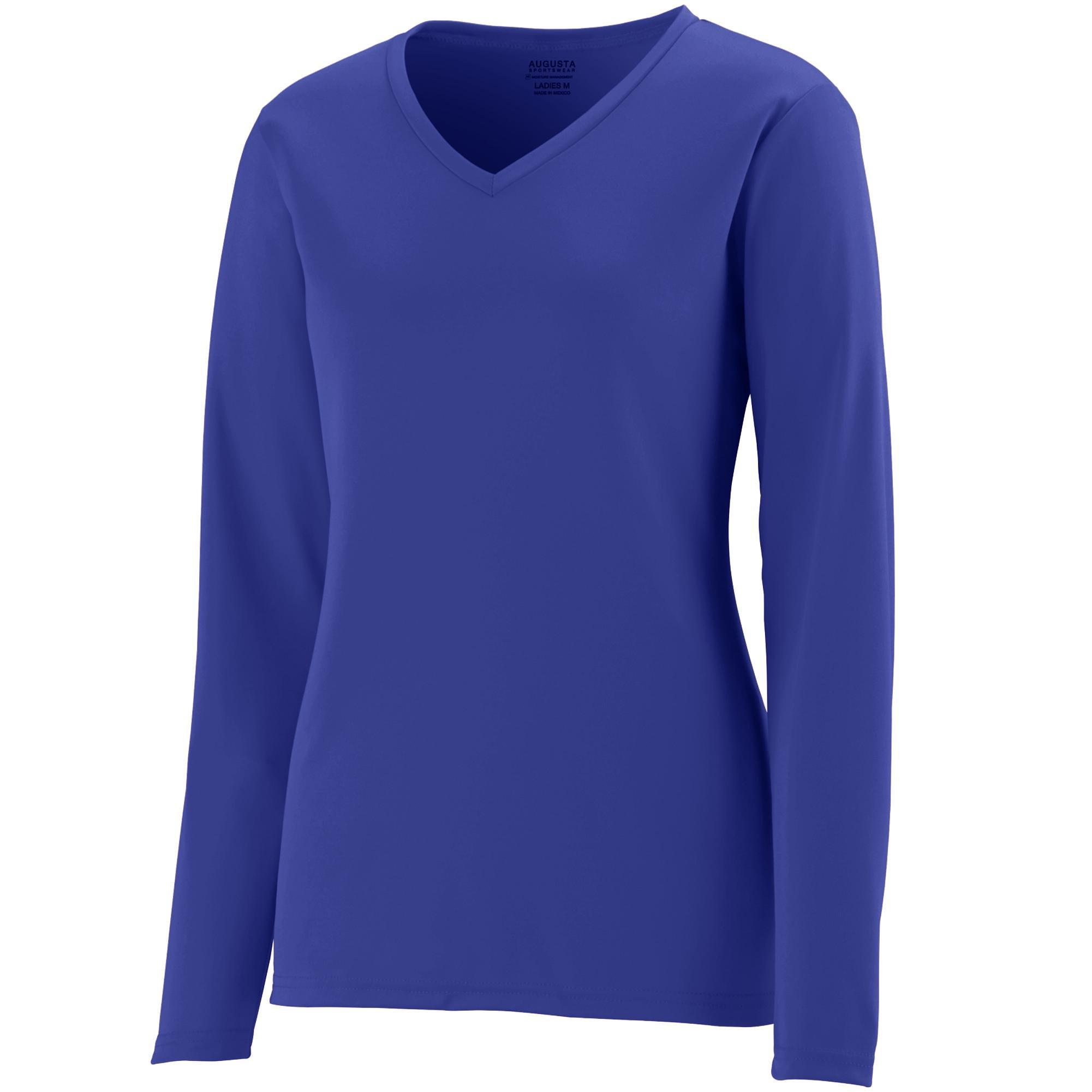 Augusta Sportswear Womens Long Sleeve Wicking T-Shirt, Purple, 3X-Large