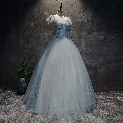 QAQBDBCKL Azul Claro Lunares Vestido Medieval Vestido ...