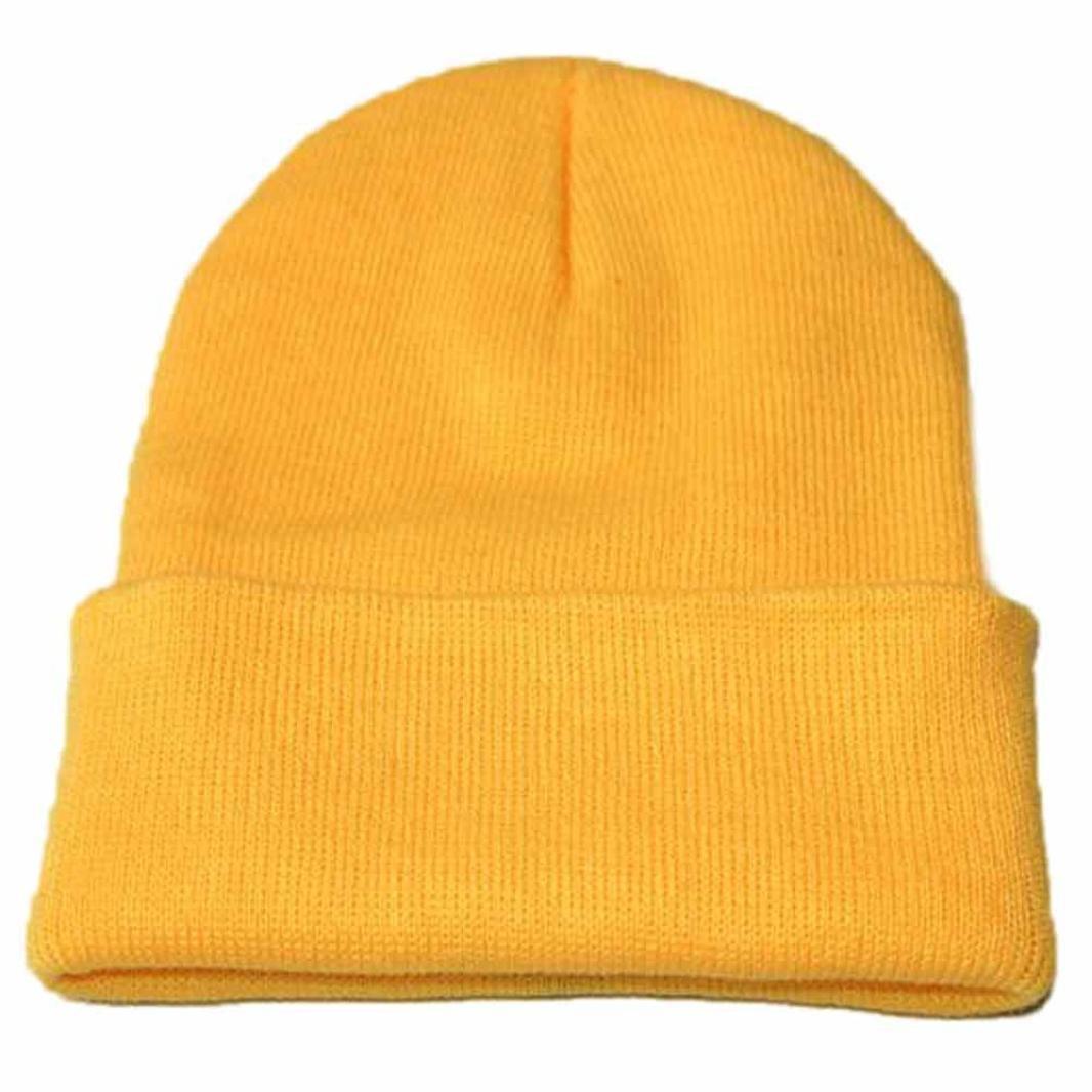 bestpriceam Knitted Hat, Unisex Slouchy Knitting Beanie Hip Hop Cap Warm Winter Ski Hat (Yellow)