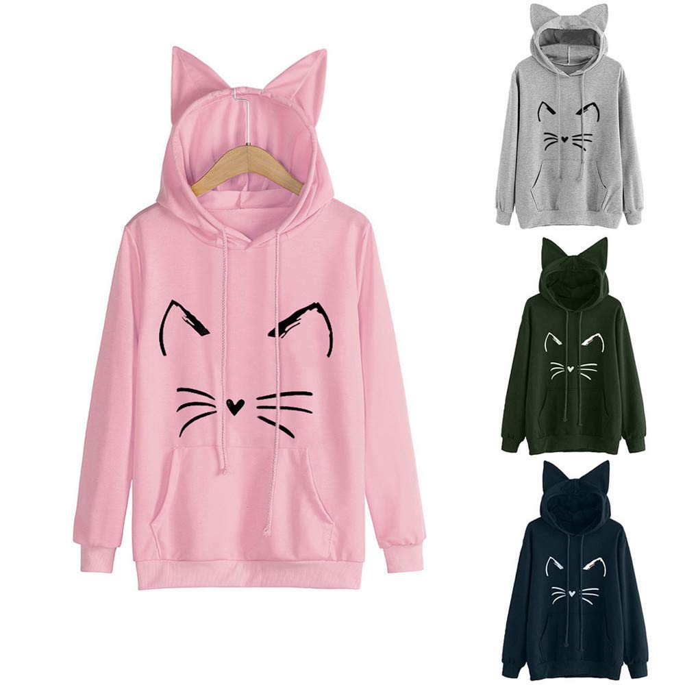 Womens Pullover with Cat Ear Long Sleeve Hoodie Kitty Printed Sweatshirt Tops Blouse at Amazon Womens Clothing store: