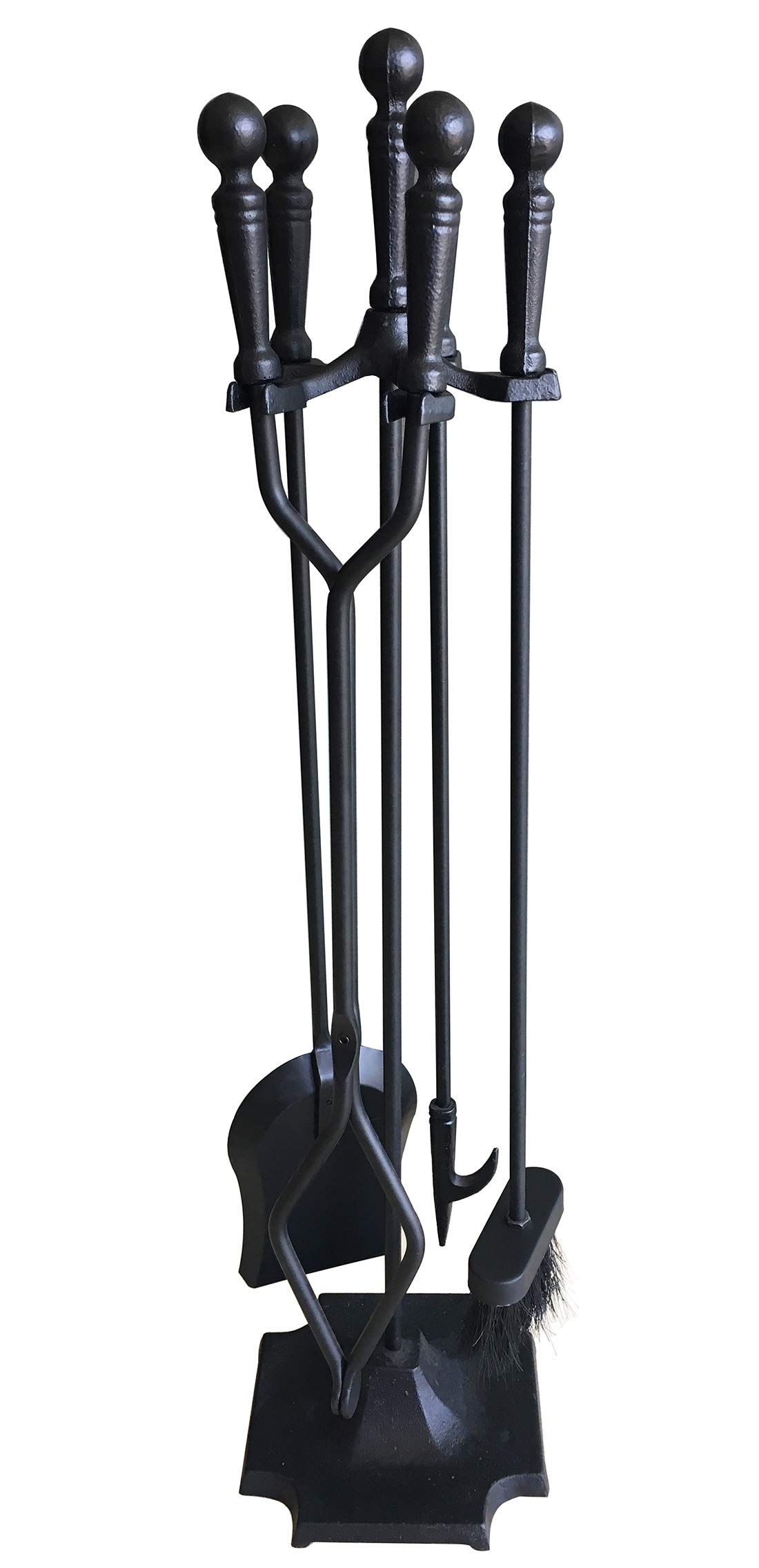 Tosnail 5 Pieces Wrought Iron Fireplace Tools Set - Brush, Shovel, Tong, Poker and Stand Base by Tosnail