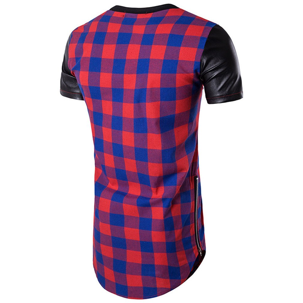 Usopu Mens Summer Casual Daily Sports Long Style Plaid Stitching Leather Round Collar Short Sleeve T-Shirt
