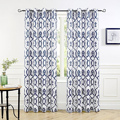 DriftAway Evelyn Thermal Room Darkening Grommet Unlined Window Curtains, Ikat fleur/Floral Pattern, Set of Two Panels, each size 52