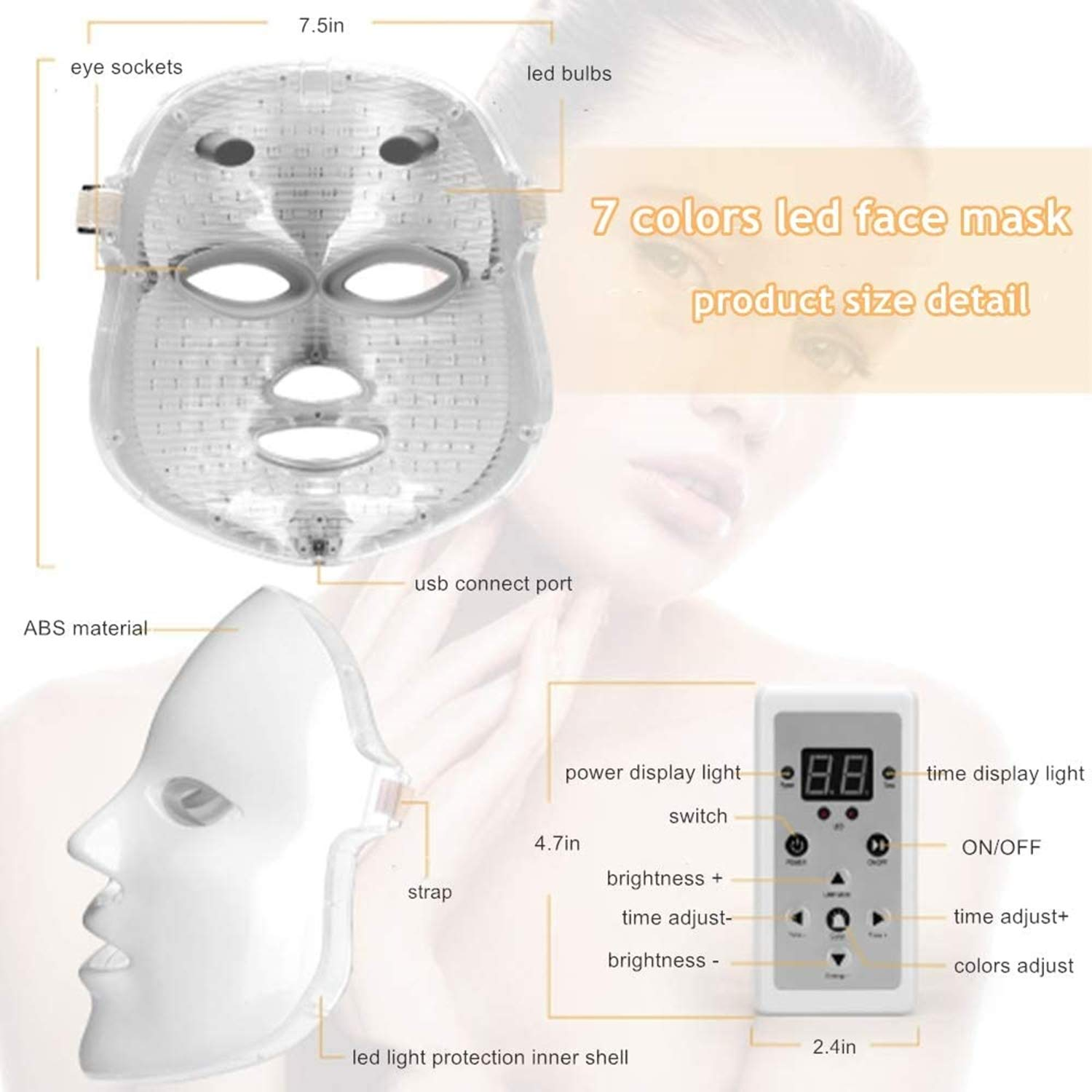 Obqo Led Face Mask Light Therapy Skin Revitalisation Led Mask Light Therapy Mask Beauty