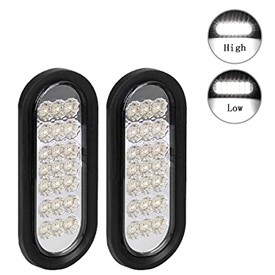 "NPAUTO 2Pcs 6"" Oval Trailer Lights White 21 LED Stop Turn Tail Light Backup Lights Trailer Reverse Lights for RV Truck Boat Trailer Waterproof [Grommet & Plug]: Automotive"