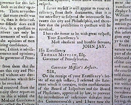 Fever Suspension - YELLOW FEVER EPIDEMIC New York & Pennsylvania TRADE Suspension 1795 Newspaper