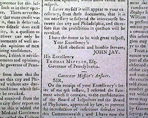 YELLOW FEVER EPIDEMIC New York & Pennsylvania TRADE Suspension 1795 - Fever Suspension