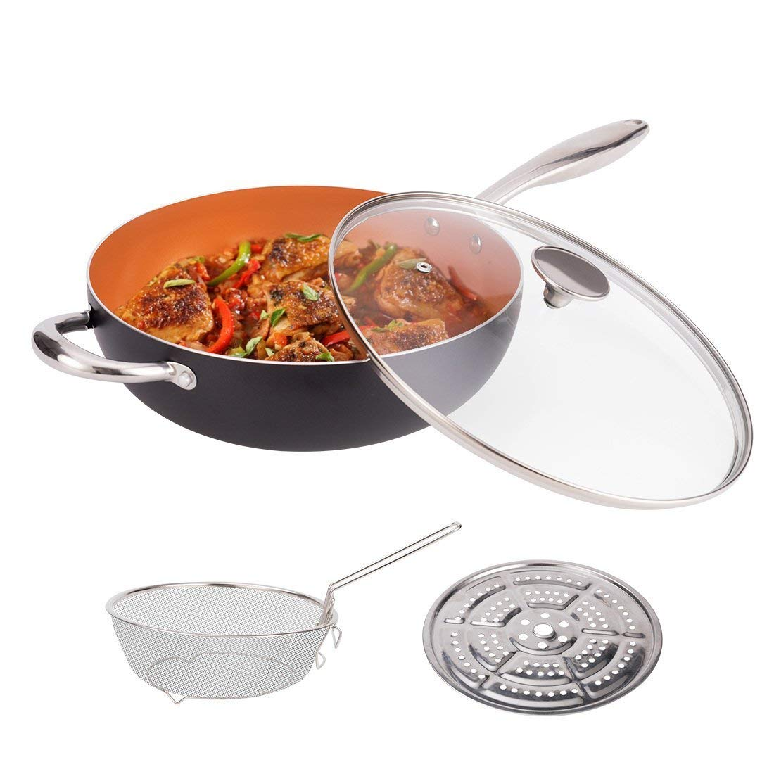 MICHELANGELO 5 Quart Non Stick Woks and Stir Fry Pans With Lid, Deep Frying Basket & Steaming Rack, Non Stick Ceramic Wok With Lid, Nonstick Copper Wok Pan With Lid, Copper Deep Frying Pan With Lid