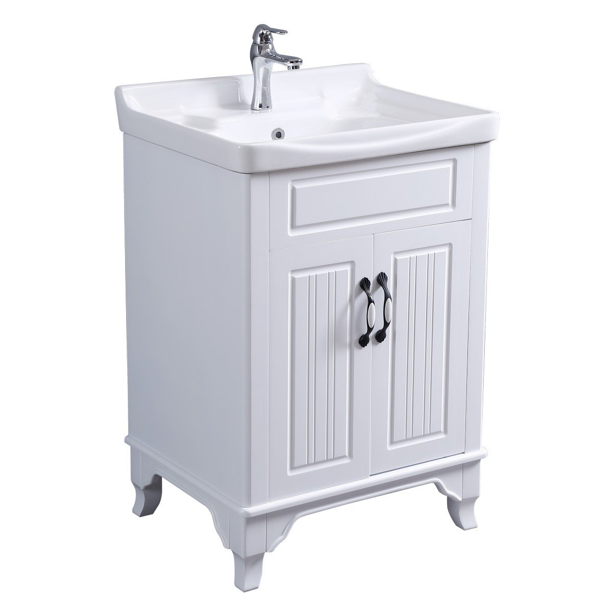 Renovator s Supply Large Cabinet Vanity Sink White Free Standing With Ample Cabinet Space Sink Basin Overflow With Large Raised Back Splash Set Includes Elegant Chrome Faucet And Drain