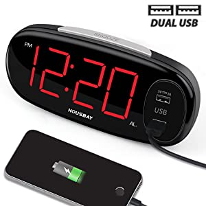 """HOUSBAY Digital Alarm Clock with Dual USB Charger, No Frills Simple Settings, Easy Snooze, 6.5"""" Big LED Alarm Clocks for Bedrooms with Dimmer, Outlets Powered"""