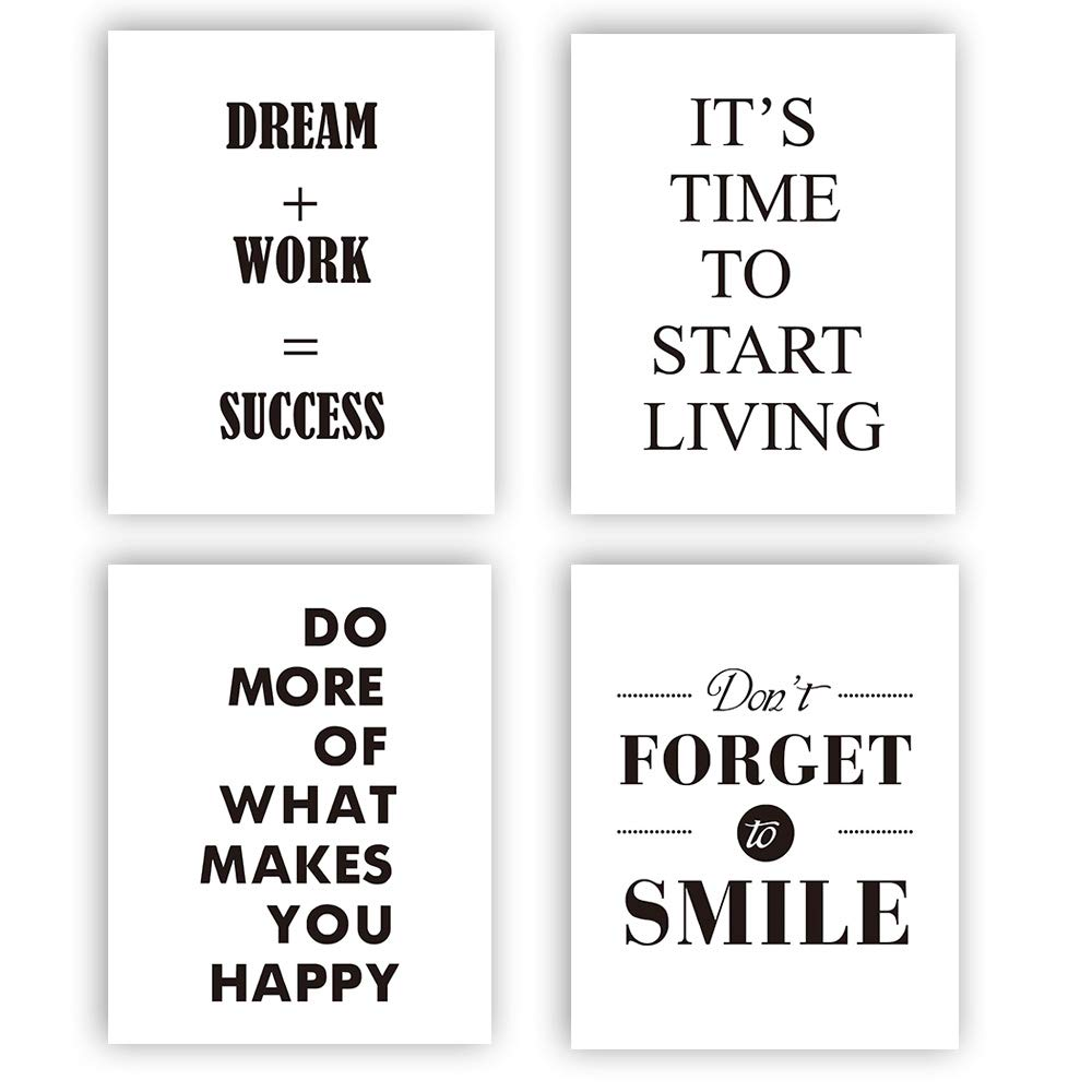 """Motivational Words Art Print Set Of 4 10/""""X8/"""")Typography Print,Office Decor With Inspirational Lettering art print, Canvas Art Print Painting Poster For Study, Wall Art Home Decor, No Frame"""
