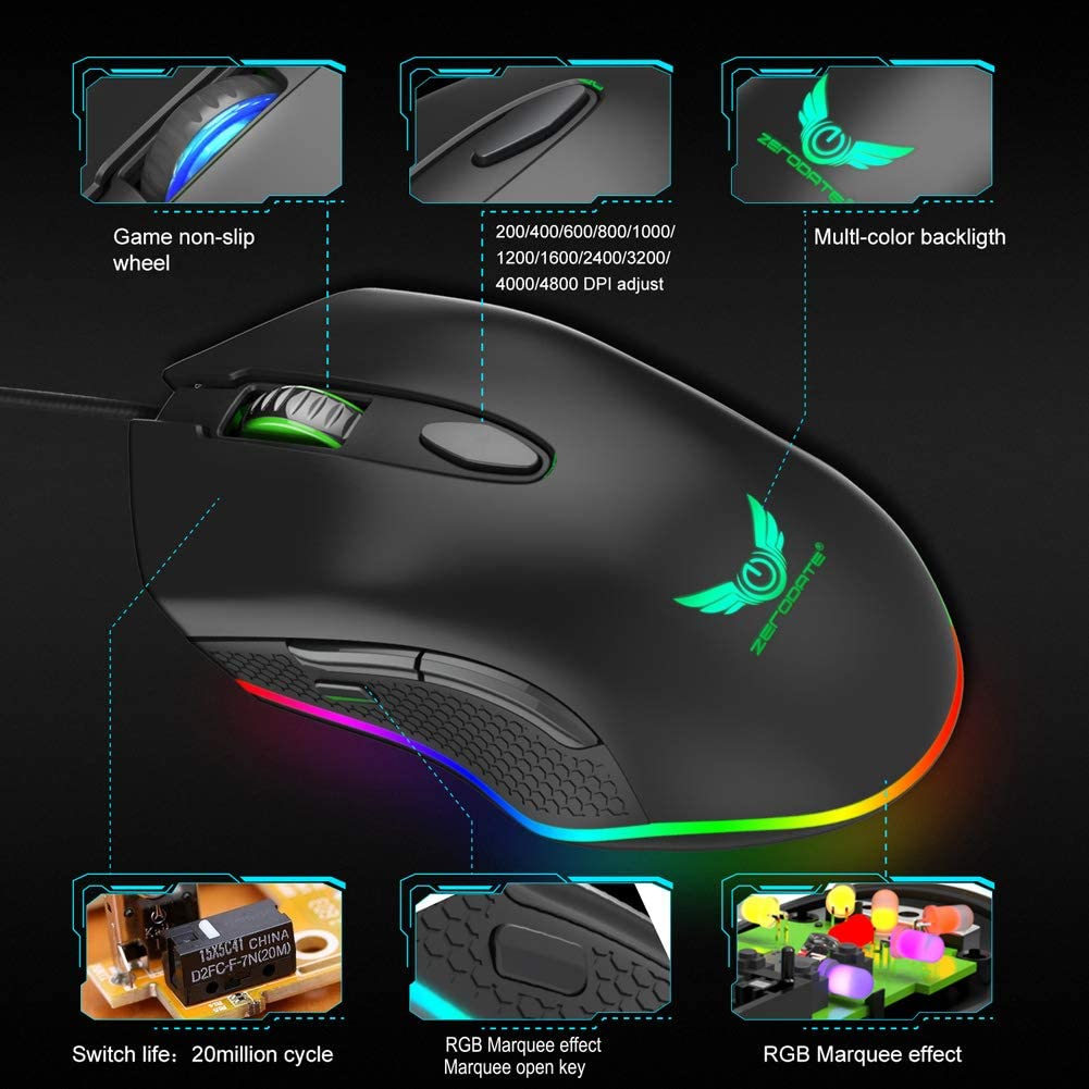 Comfortable Grip Ergonomic Optical PC Computer Gaming Mice 6 Programmable Buttons FFQNG Gaming Mouse Wired Chroma RGB Backlit 4800 DPI Adjustable