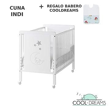 Cuna colecho de bebé Indi (5 posiciones de somier) + kit colecho + 4 ruedas + babero de regalo: Amazon.es: Bebé