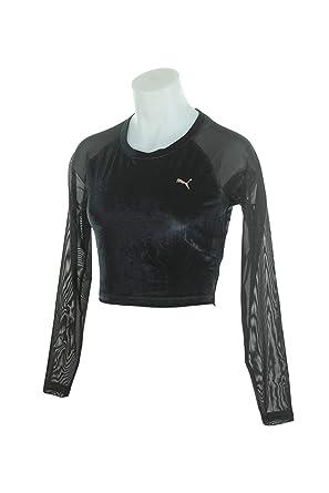 7f8fb00fbd6 Puma Womens Explosive Long Sleeve Velvet Crop Top 516560-01: Amazon.co.uk:  Clothing