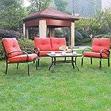 Cloud Mountain 4 Piece Patio Furniture Set Outdoor Conversation Set  Cushioned Sofa Set Garden Love Seat Wrought Iron Coffee Table Loveseat Sofa  2 Chairs, ...