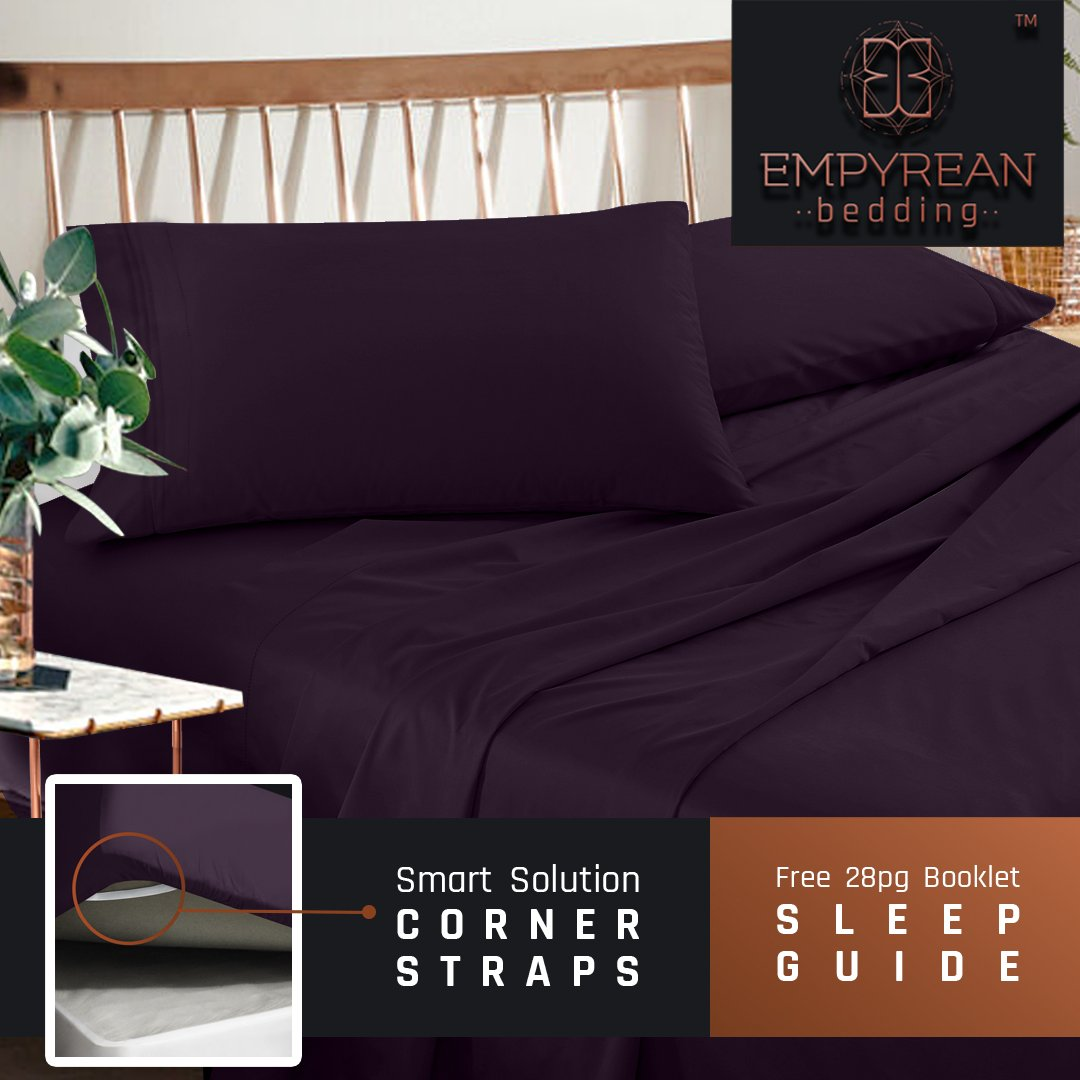 Premium Full Size Sheets Set - Purple Eggplant Hotel Luxury 4-Piece Bed Set