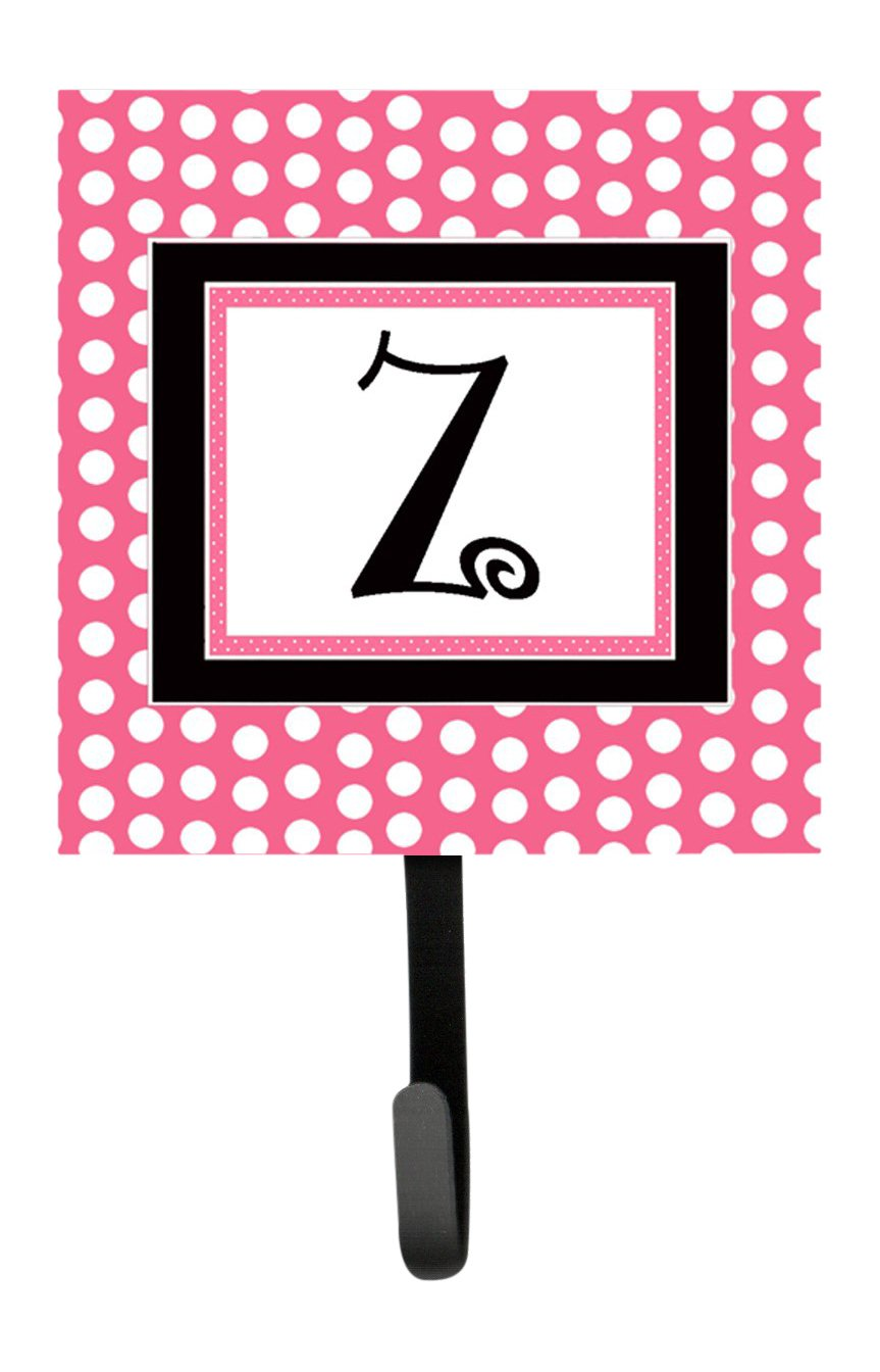 Carolines Treasures CJ1001-ZSH4 Letter Z Initial Monogram-Pink Black Polka Dots Leash Holder or Key Hook Multicolor Small