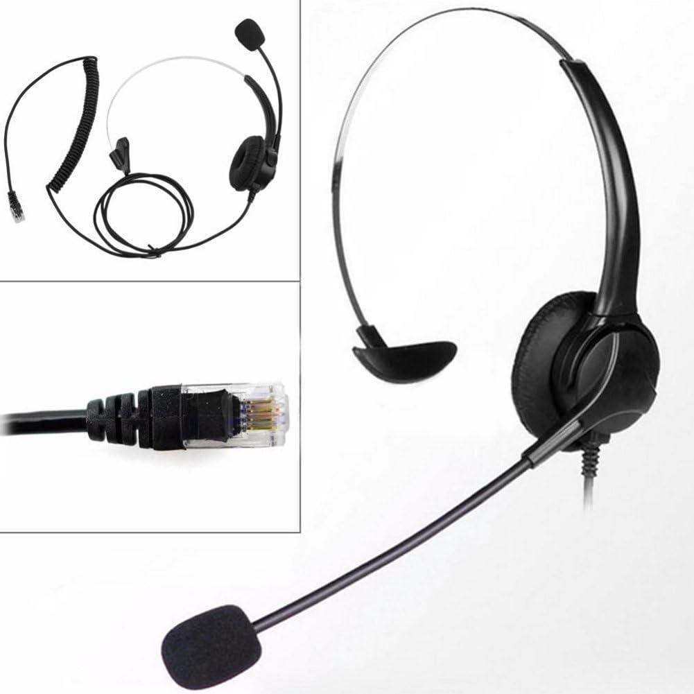 Dyda6 RJ11 - Auriculares de diadema con micrófono para teléfono con cancelación de ruido, botón de control de volumen, servicio al cliente, negro, Tamaño libre