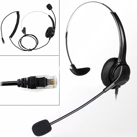 Dyda6 RJ11 - Auriculares de diadema con micrófono para teléfono ...
