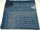 Blue Kantha Quilt, King Size Hand Stitch Kantha Ajrakh Bed-cover, Indian Bohemian Kantha Ajrakh Quilt